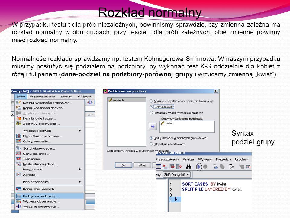 Rozkład normalny Syntax podziel grupy