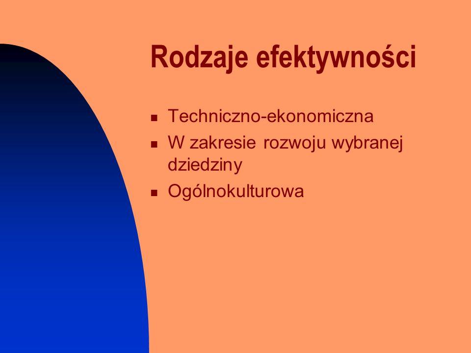 Rodzaje efektywności Techniczno-ekonomiczna