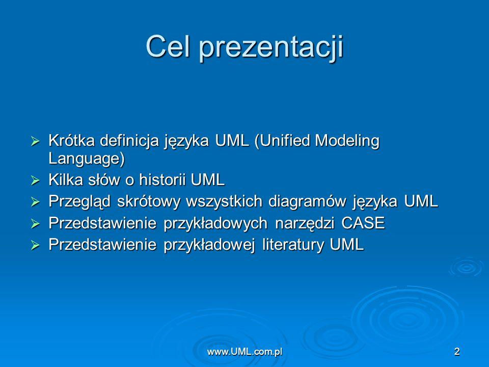 www.UML.com.pl Cel prezentacji. Krótka definicja języka UML (Unified Modeling Language) Kilka słów o historii UML.