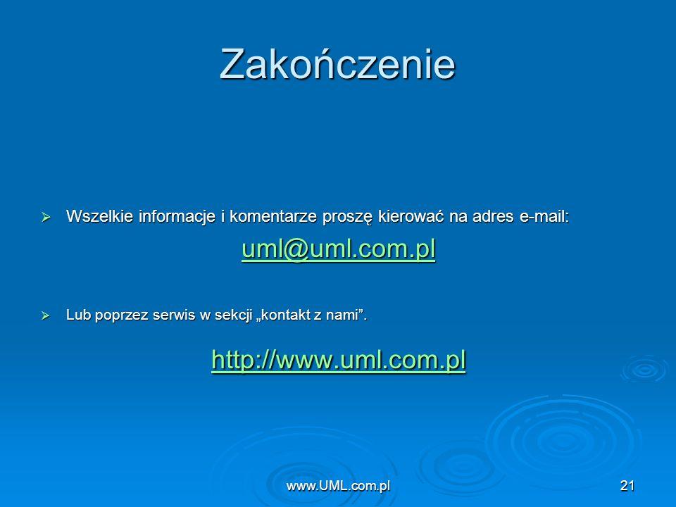 Zakończenie uml@uml.com.pl http://www.uml.com.pl