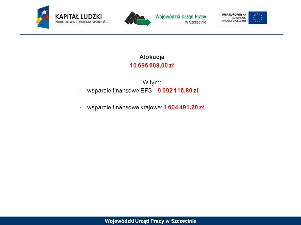 Alokacja 10 696 608,00 zł. W tym: wsparcie finansowe EFS: 9 092 116,80 zł.