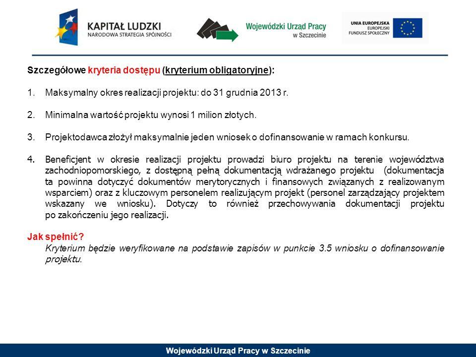 Szczegółowe kryteria dostępu (kryterium obligatoryjne):