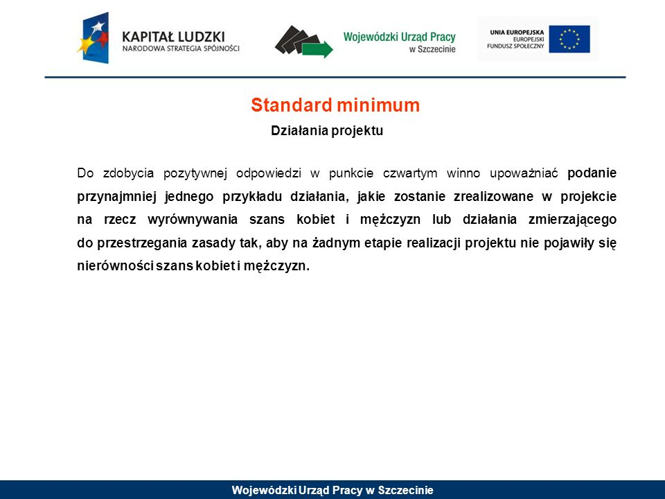 Standard minimum Działania projektu