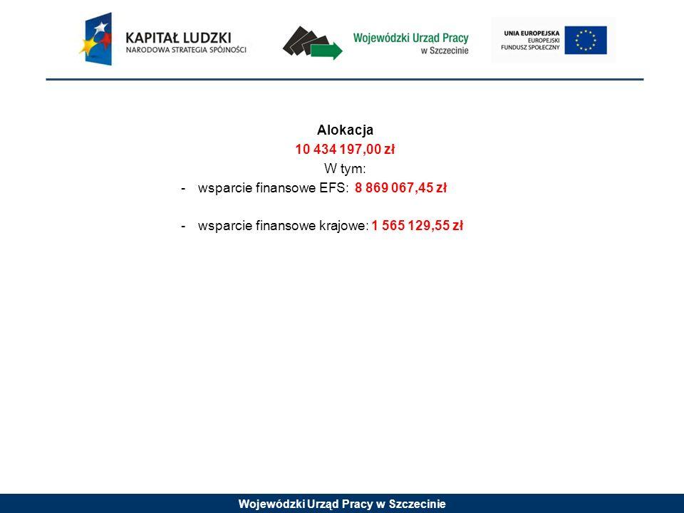 Alokacja 10 434 197,00 zł. W tym: wsparcie finansowe EFS: 8 869 067,45 zł.