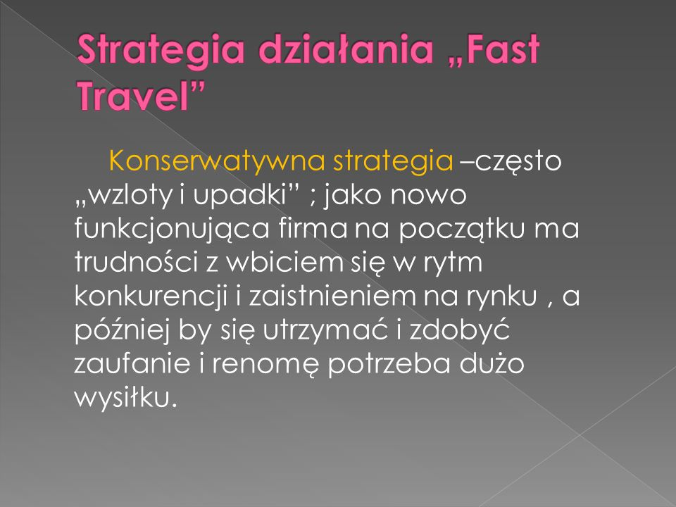 "Strategia działania ""Fast Travel"