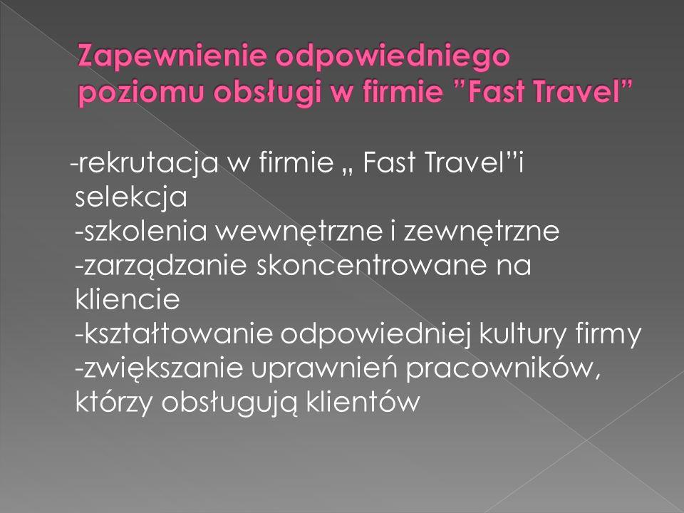 Zapewnienie odpowiedniego poziomu obsługi w firmie Fast Travel