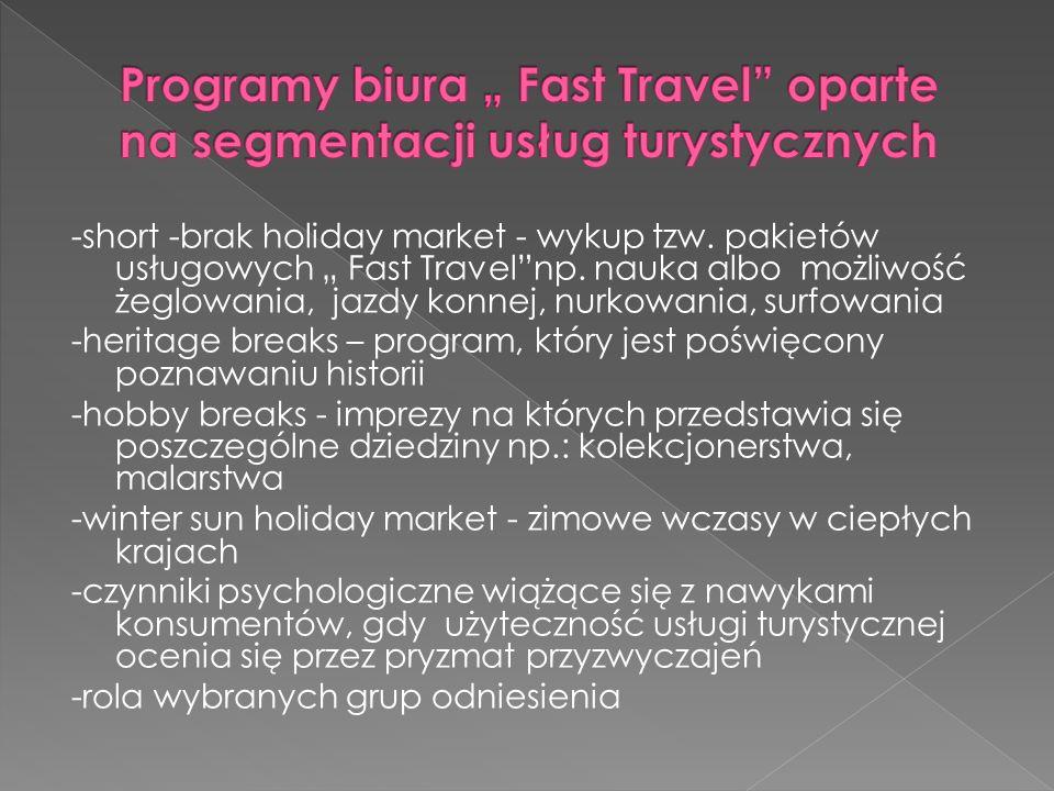 """Programy biura """" Fast Travel oparte na segmentacji usług turystycznych"""