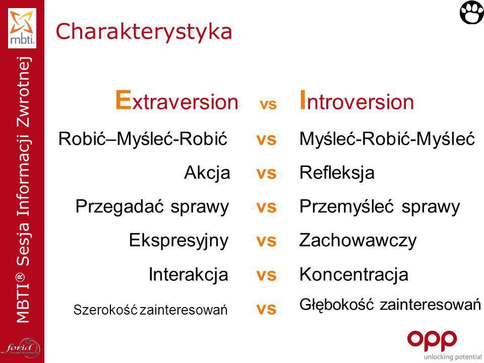 Extraversion vs Introversion Charakterystyka Robić–Myśleć-Robić vs