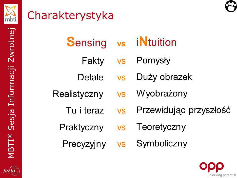 Sensing vs Charakterystyka iNtuition Fakty vs Pomysły Detale vs