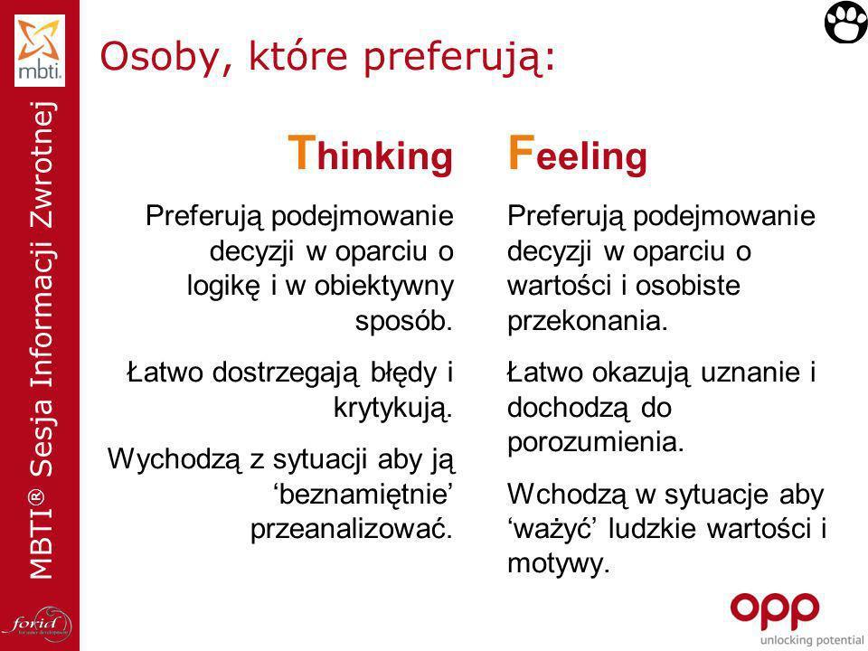 Osoby, które preferują: