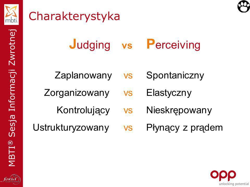 Judging vs Perceiving Charakterystyka Zaplanowany vs Zorganizowany vs