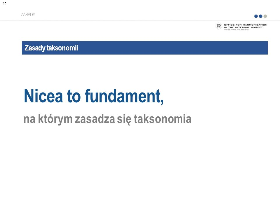Nicea to fundament, na którym zasadza się taksonomia Zasady taksonomii