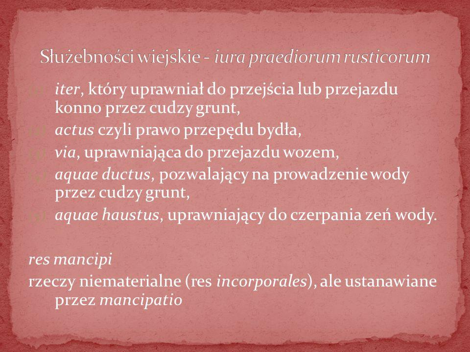 Służebności wiejskie - iura praediorum rusticorum