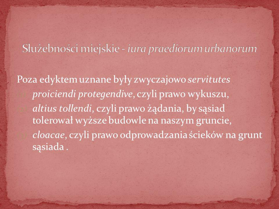 Służebności miejskie - iura praediorum urbanorum