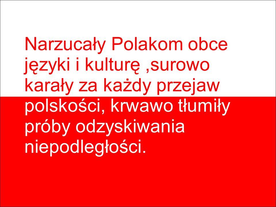 Narzucały Polakom obce języki i kulturę ,surowo karały za każdy przejaw polskości, krwawo tłumiły próby odzyskiwania niepodległości.