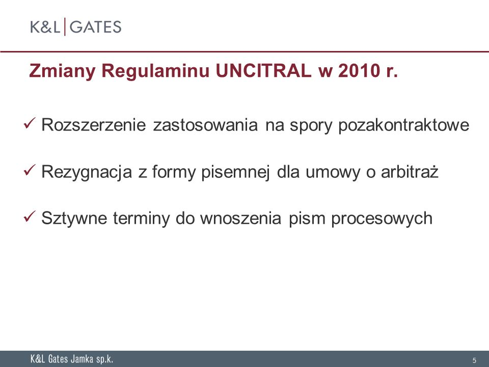 Zmiany Regulaminu UNCITRAL w 2010 r.
