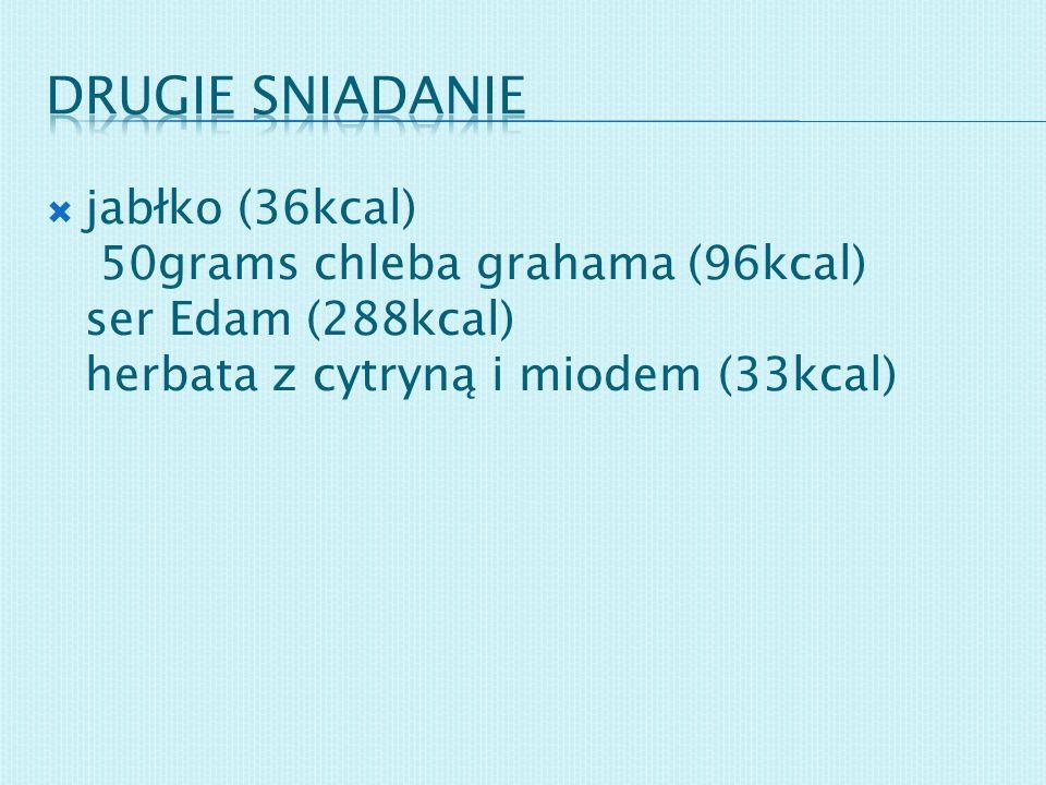 Drugie sniadanie jabłko (36kcal) 50grams chleba grahama (96kcal) ser Edam (288kcal) herbata z cytryną i miodem (33kcal)