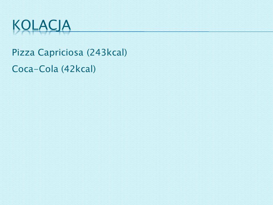 kolacja Pizza Capriciosa (243kcal) Coca-Cola (42kcal)