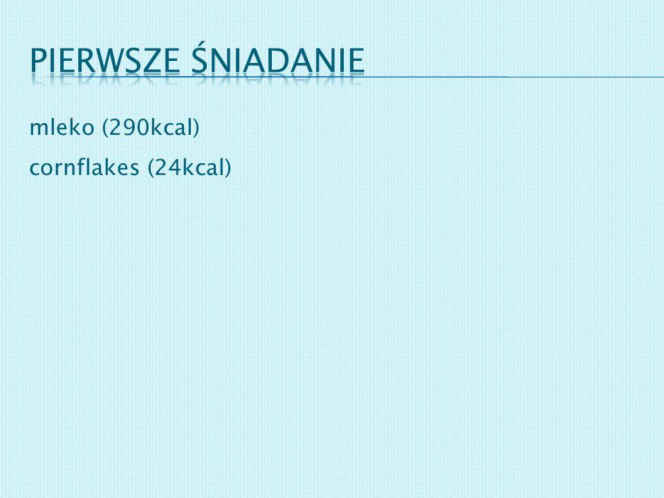 Pierwsze śniadanie mleko (290kcal) cornflakes (24kcal)