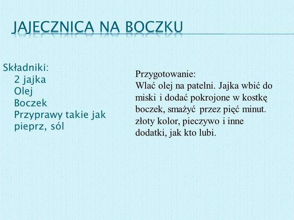Jajecznica na boczku Składniki: 2 jajka Olej Boczek Przyprawy takie jak pieprz, sól.