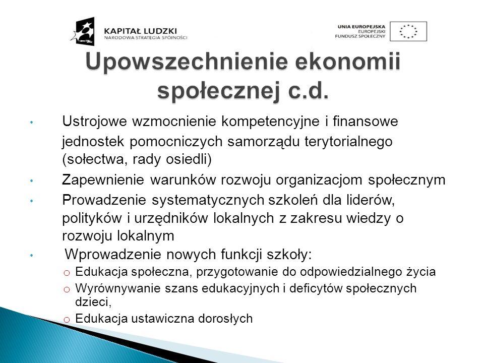 Upowszechnienie ekonomii społecznej c.d.
