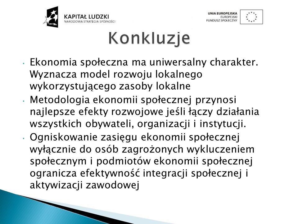 Konkluzje Ekonomia społeczna ma uniwersalny charakter. Wyznacza model rozwoju lokalnego wykorzystującego zasoby lokalne.