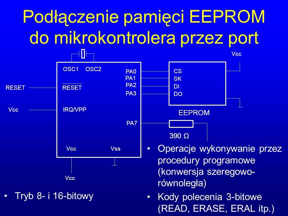 Podłączenie pamięci EEPROM do mikrokontrolera przez port