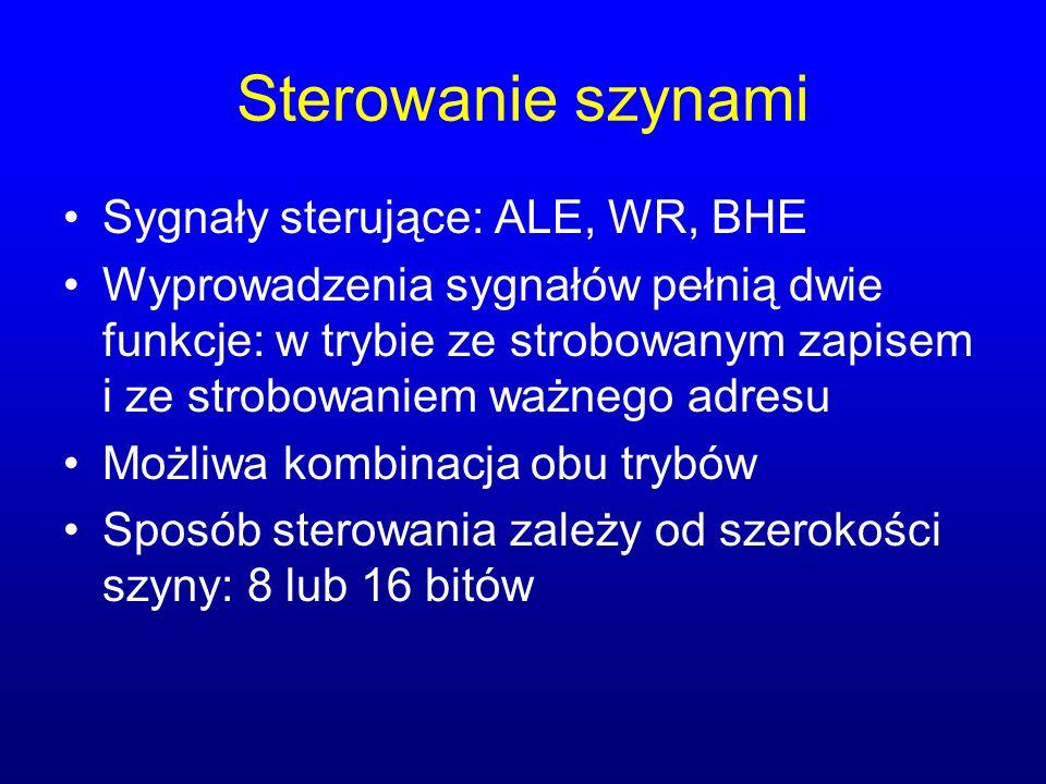 Sterowanie szynami Sygnały sterujące: ALE, WR, BHE