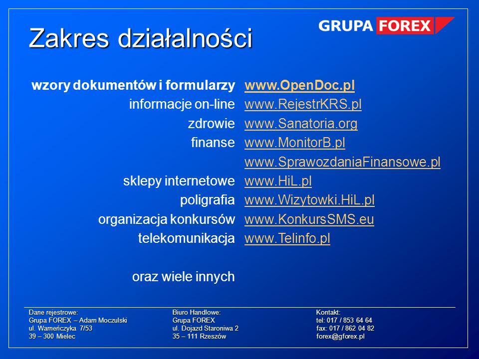 Zakres działalności wzory dokumentów i formularzy informacje on-line
