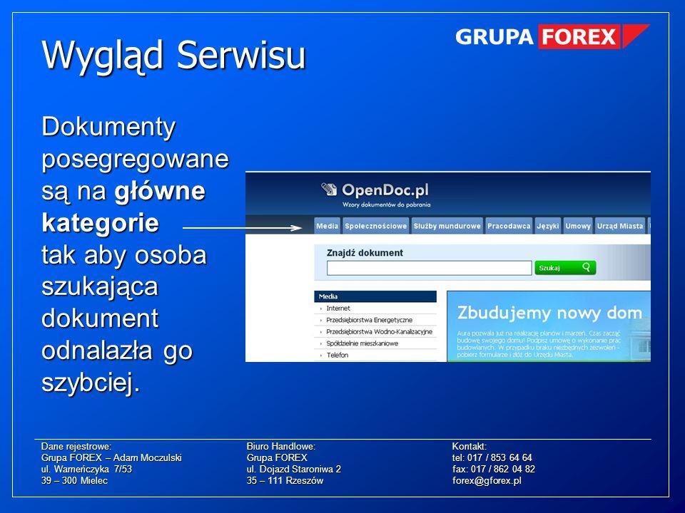 Wygląd Serwisu Dokumenty posegregowane są na główne kategorie