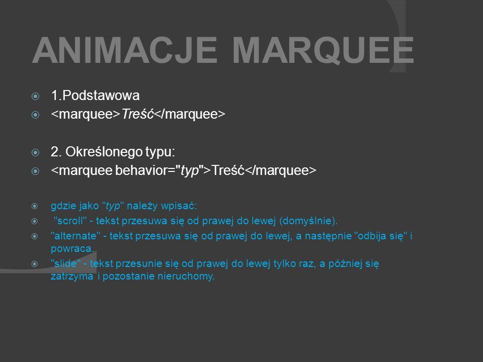 ANIMACJE MARQUEE 1.Podstawowa <marquee>Treść</marquee>