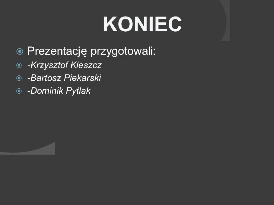 KONIEC Prezentację przygotowali: -Krzysztof Kleszcz -Bartosz Piekarski