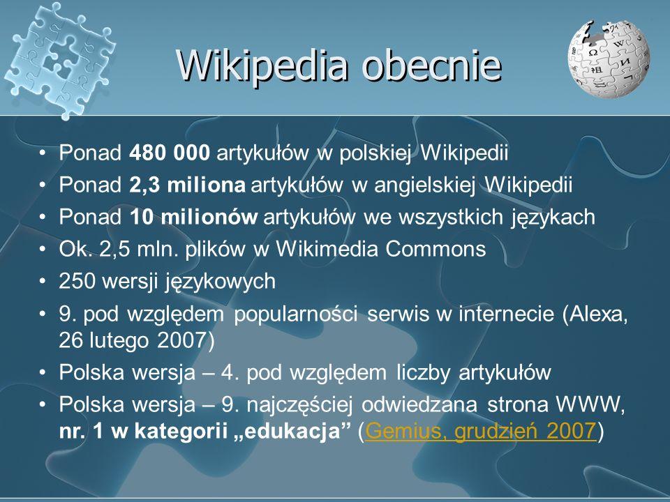 Wikipedia obecnie Ponad 480 000 artykułów w polskiej Wikipedii