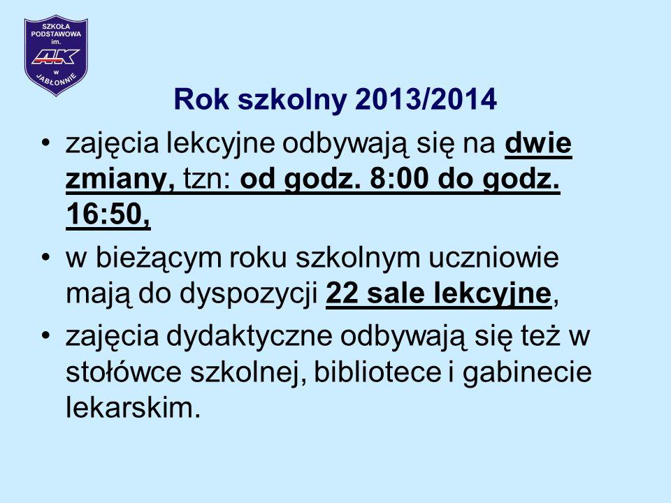 Rok szkolny 2013/2014 zajęcia lekcyjne odbywają się na dwie zmiany, tzn: od godz. 8:00 do godz. 16:50,