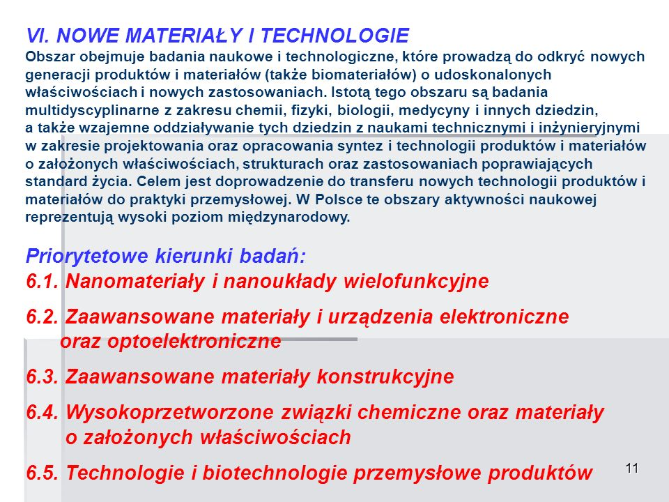 VI. NOWE MATERIAŁY I TECHNOLOGIE