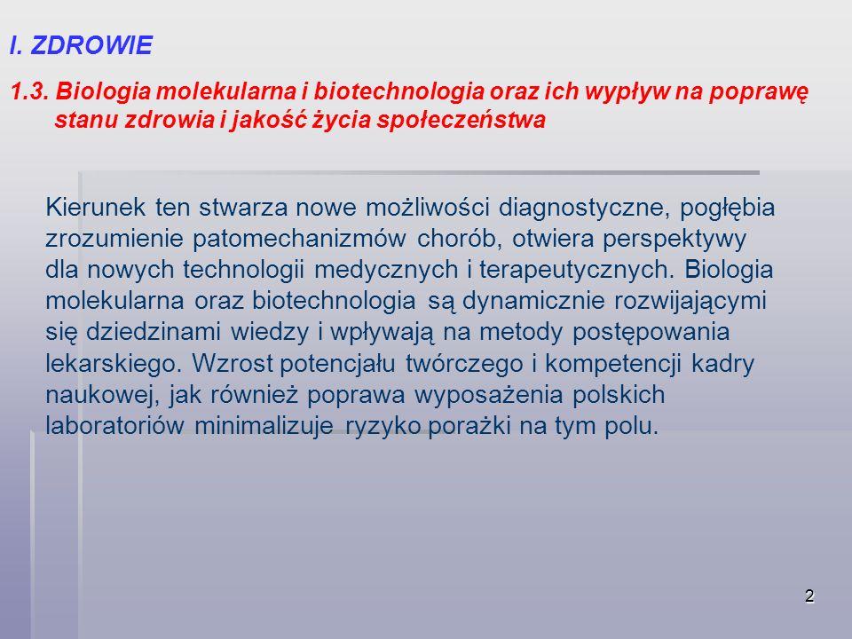 I. ZDROWIE 1.3. Biologia molekularna i biotechnologia oraz ich wypływ na poprawę. stanu zdrowia i jakość życia społeczeństwa.
