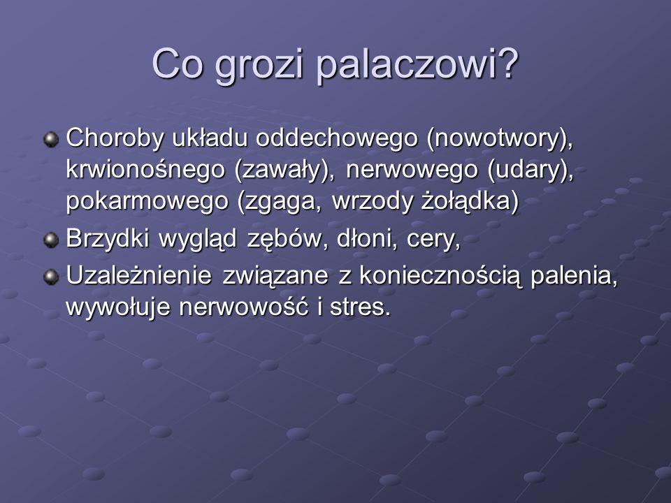 Co grozi palaczowi Choroby układu oddechowego (nowotwory), krwionośnego (zawały), nerwowego (udary), pokarmowego (zgaga, wrzody żołądka)