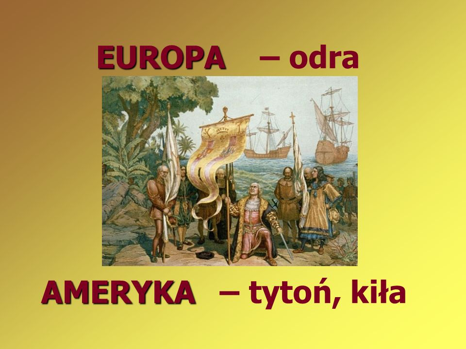 EUROPA – odra AMERYKA – tytoń, kiła