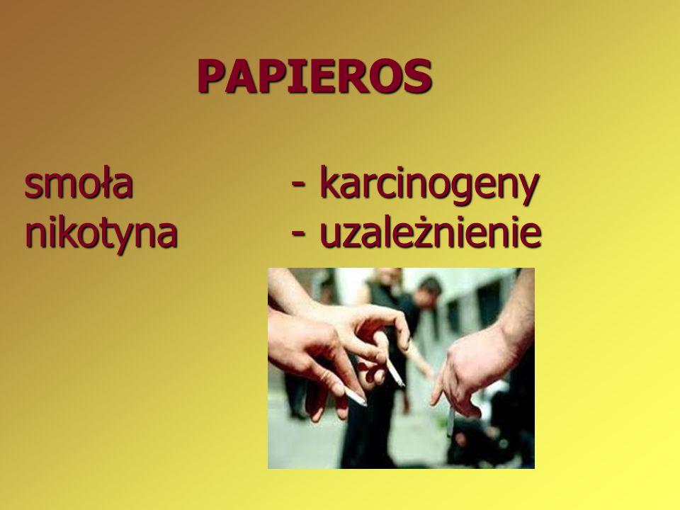 PAPIEROS smoła - karcinogeny nikotyna - uzależnienie