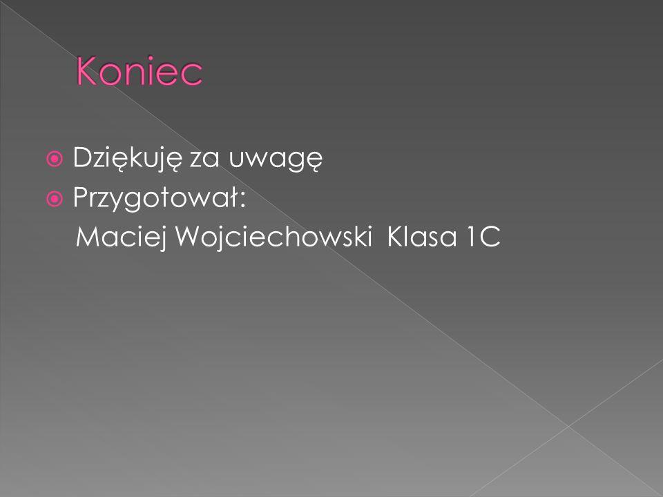 Koniec Dziękuję za uwagę Przygotował: Maciej Wojciechowski Klasa 1C