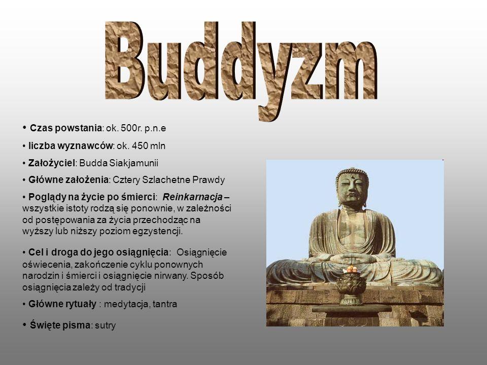 Buddyzm Czas powstania: ok. 500r. p.n.e Święte pisma: sutry