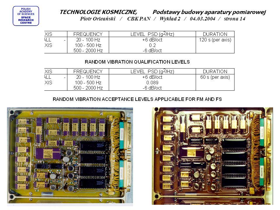 TECHNOLOGIE KOSMICZNE, Podstawy budowy aparatury pomiarowej Piotr Orleański / CBK PAN / Wykład 2 / 04.03.2004 / strona 14