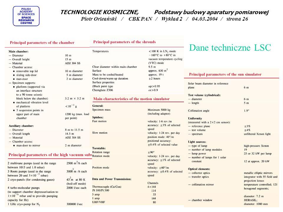 TECHNOLOGIE KOSMICZNE, Podstawy budowy aparatury pomiarowej Piotr Orleański / CBK PAN / Wykład 2 / 04.03.2004 / strona 26
