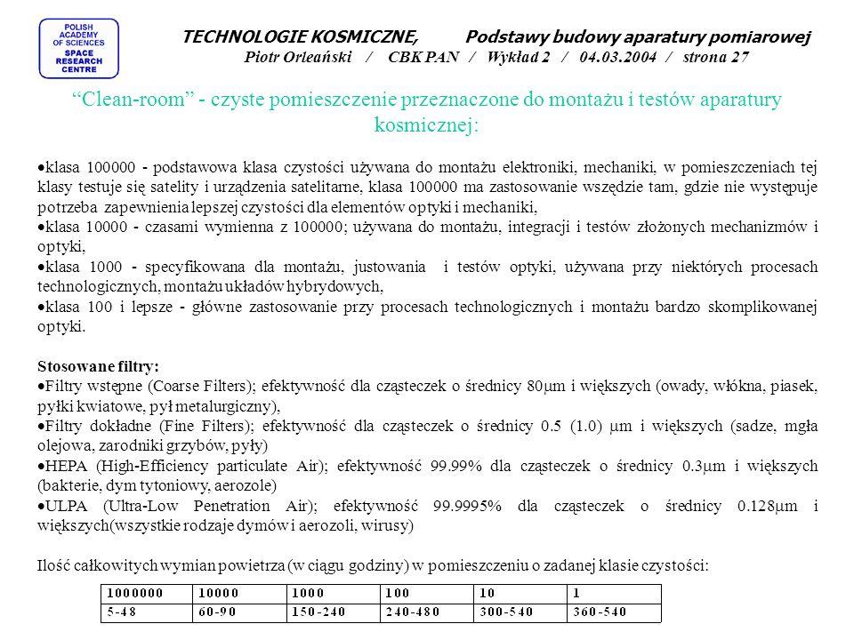 TECHNOLOGIE KOSMICZNE, Podstawy budowy aparatury pomiarowej Piotr Orleański / CBK PAN / Wykład 2 / 04.03.2004 / strona 27