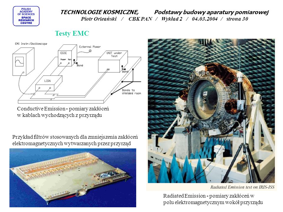 TECHNOLOGIE KOSMICZNE, Podstawy budowy aparatury pomiarowej Piotr Orleański / CBK PAN / Wykład 2 / 04.03.2004 / strona 30
