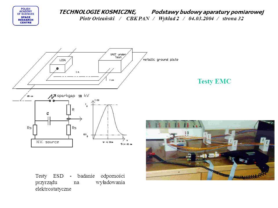 TECHNOLOGIE KOSMICZNE, Podstawy budowy aparatury pomiarowej Piotr Orleański / CBK PAN / Wykład 2 / 04.03.2004 / strona 32