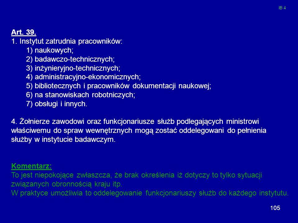 1. Instytut zatrudnia pracowników: 1) naukowych;