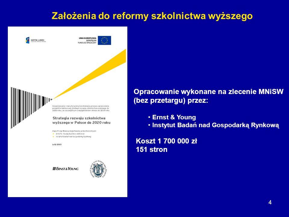 Założenia do reformy szkolnictwa wyższego