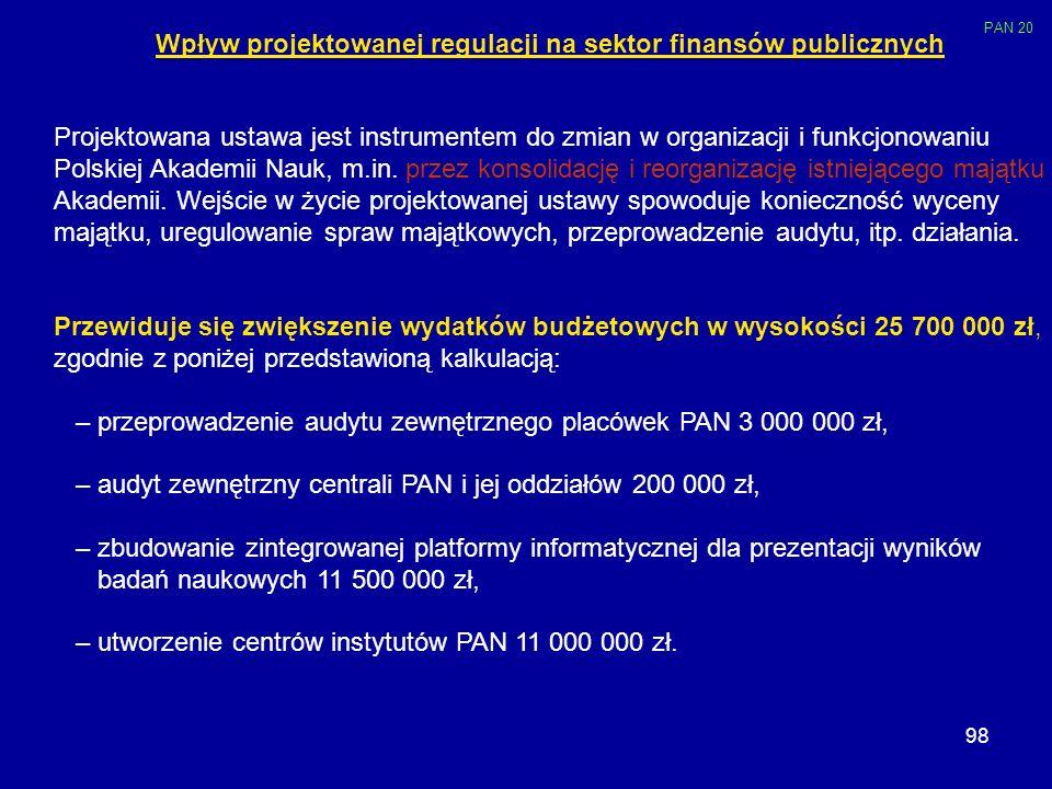 Wpływ projektowanej regulacji na sektor finansów publicznych