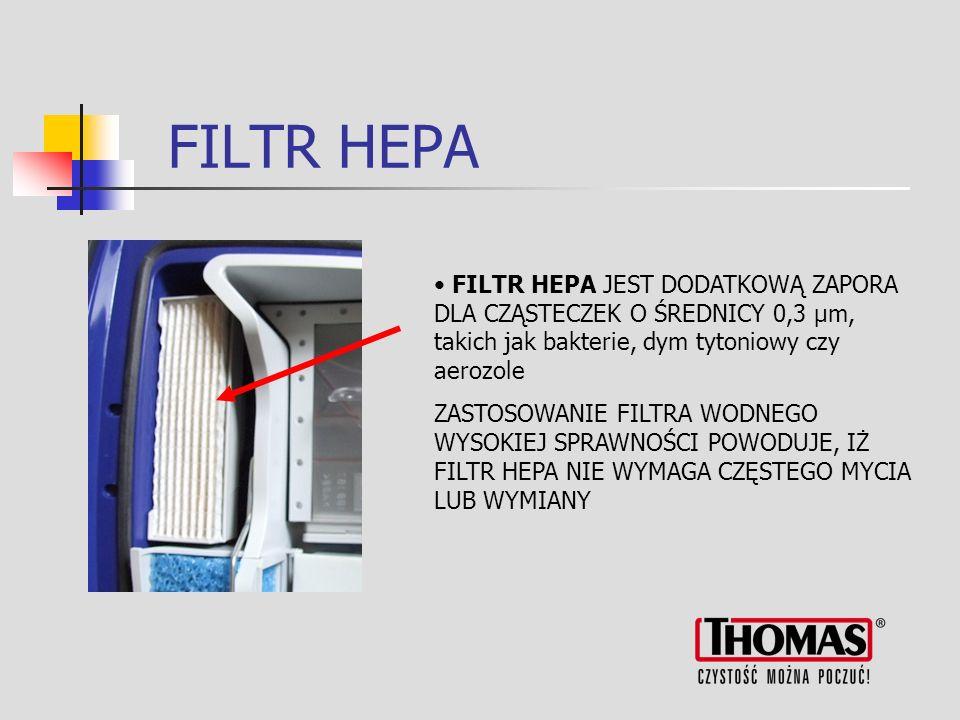 FILTR HEPA FILTR HEPA JEST DODATKOWĄ ZAPORA DLA CZĄSTECZEK O ŚREDNICY 0,3 µm, takich jak bakterie, dym tytoniowy czy aerozole.